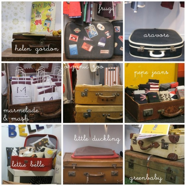 vintage suitcases and trunks at bubble london
