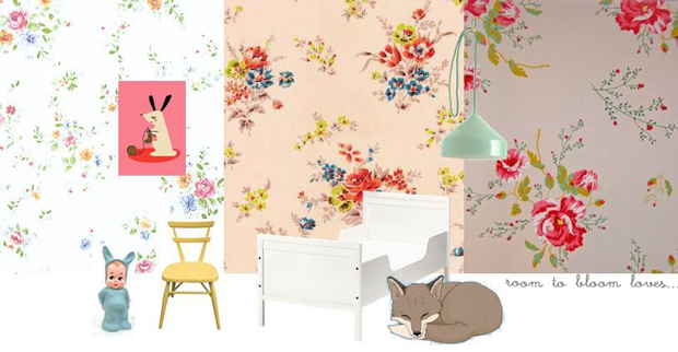 floral wallpaper for a girl's room