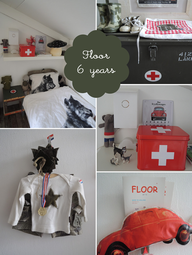 boys bedroom in red, grey and white: floor