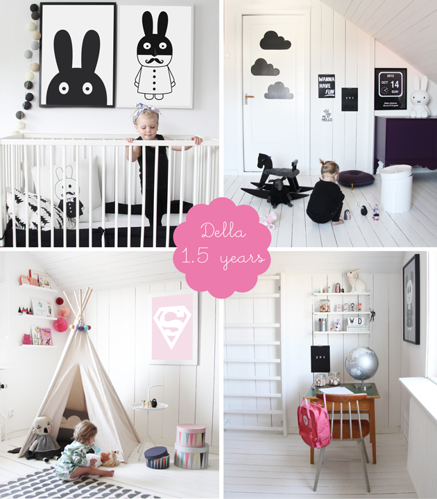 black and white monochrome girls bedroom