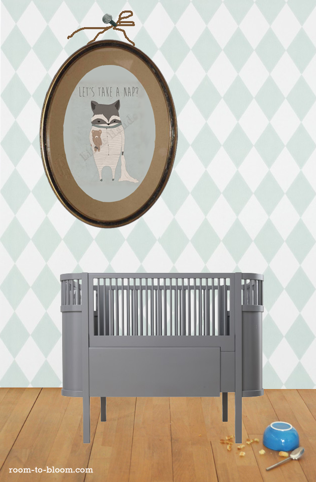 little hands raccoon print grey sebra kili cot