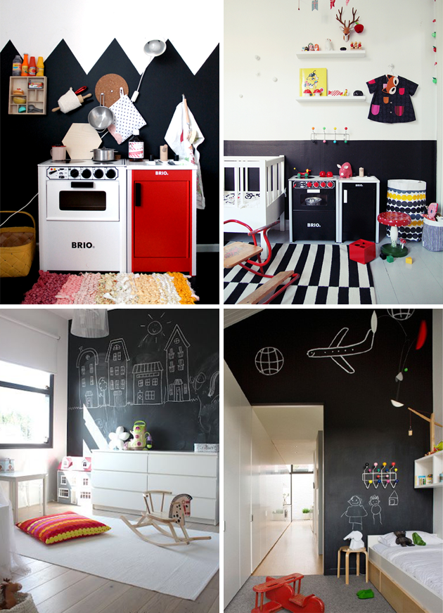 monochrome black and white kids rooms red
