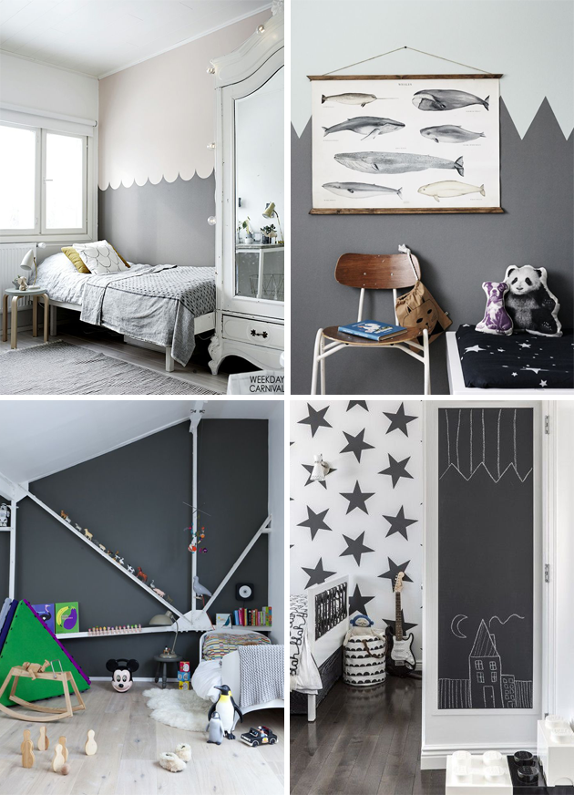 monochrome black and white kids room soft