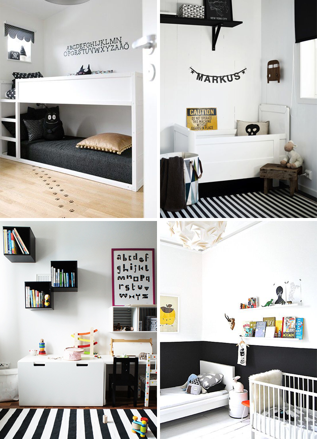 Monochrome Black And White Kids Room Yellow