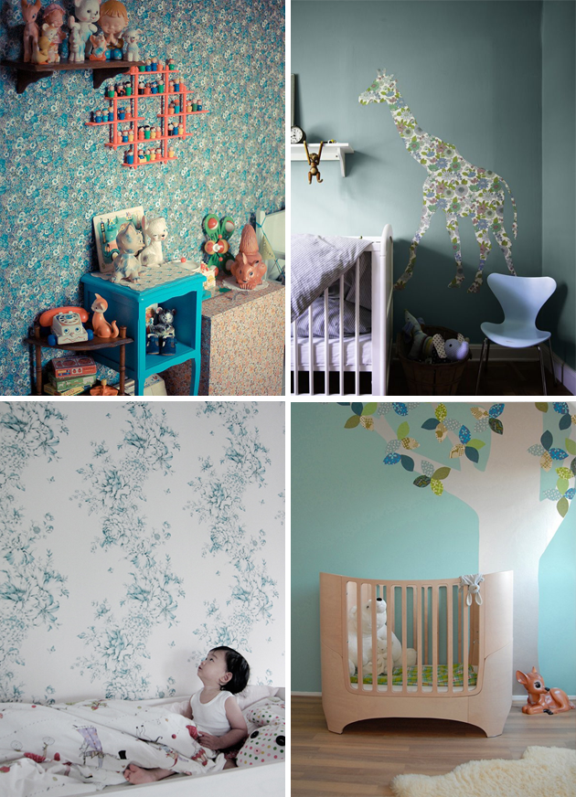 vintage wallpaper kids room blue