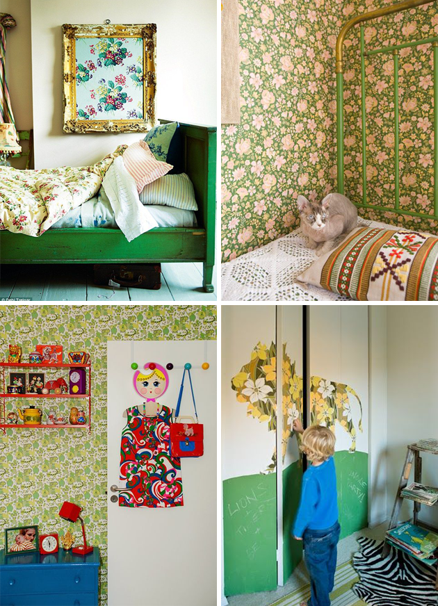 vintage wallpaper kids room green