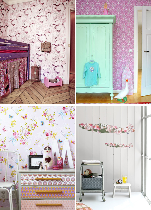 Vintage Wallpaper Kids Room Pink