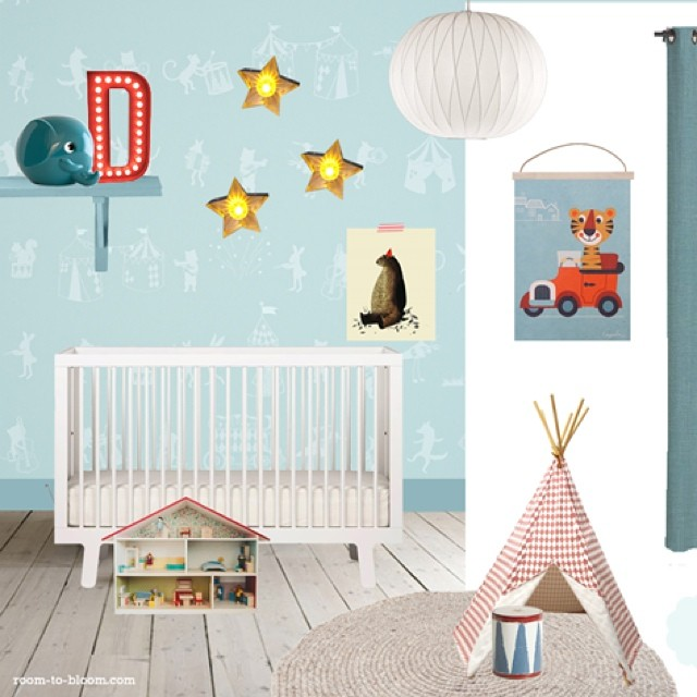 Mini collaboration: inspiration board for @HibouHome with paint & fabric suggestions for Animal Parade in mint. Details via website in profile. #kidsinteriordesign