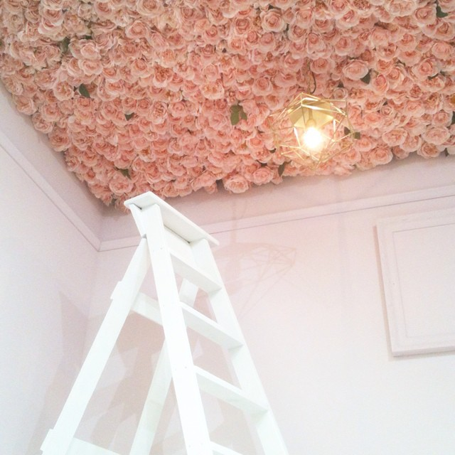 Rose ceiling by Little Greene at #decorex