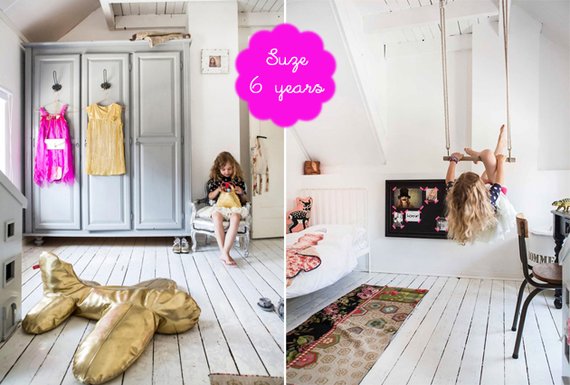 Girls bedroom white floorboards