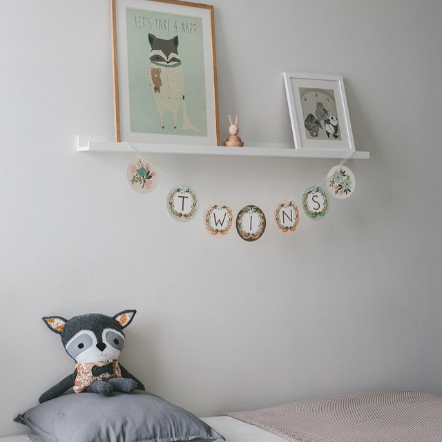 Photos on the blog of a gender neutral nursery I designed for a twin boy and girl. #interiordesign #kids #nursery #twins