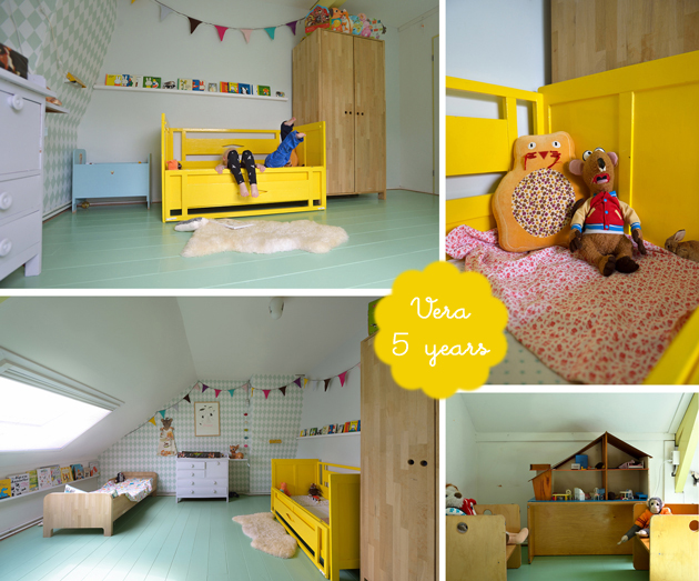 shared colourful kids bedroom pastels mint and yellow for vera and