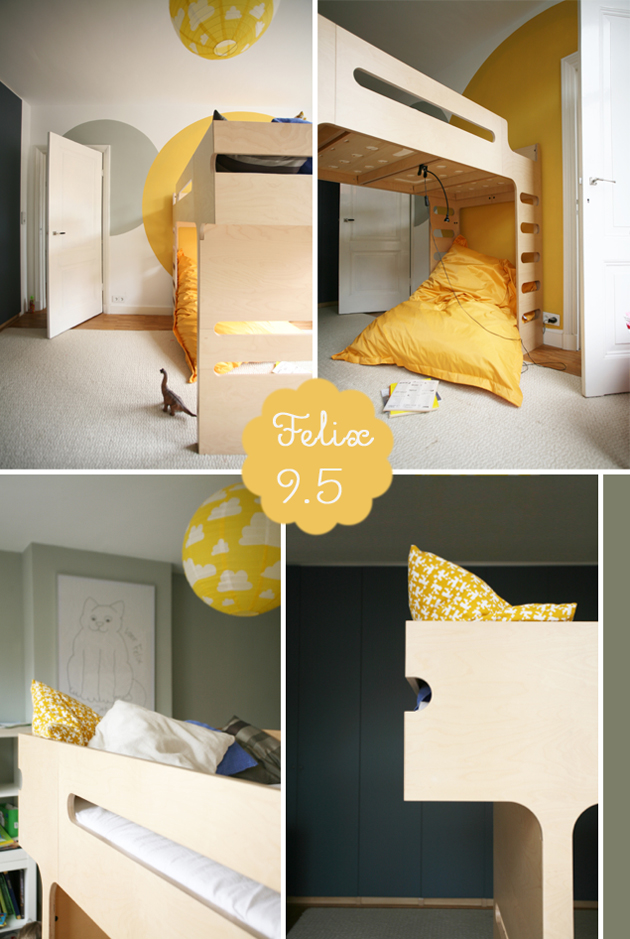 modern kids room bunk bed yellow grey