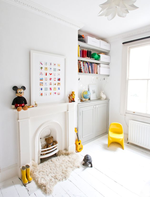 yellow accents in white kids room
