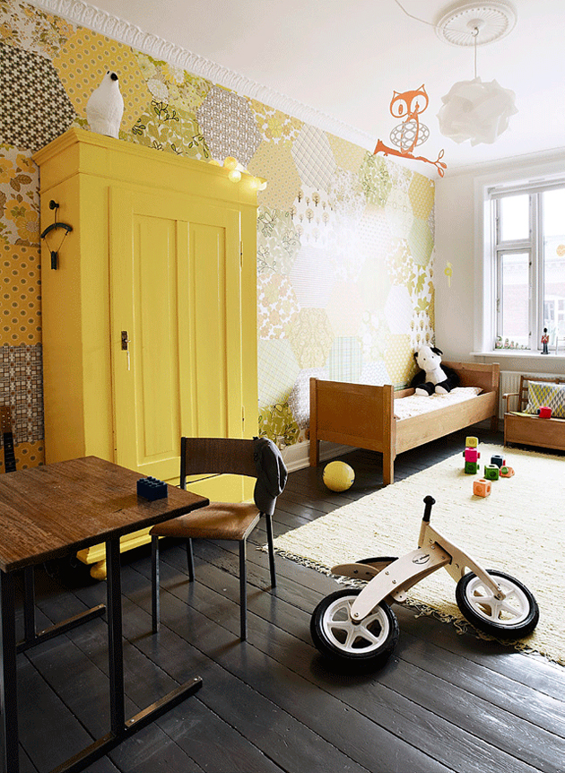 yellow wardrobe toy cabinet in kids room