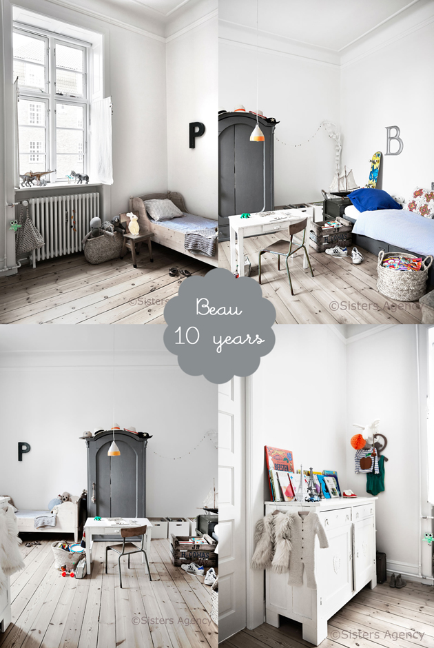 scandinavian shared kids bedroom