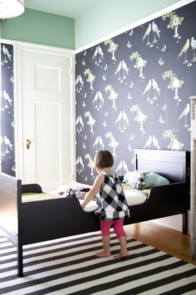 dark toddler room with perroquet wallpaper