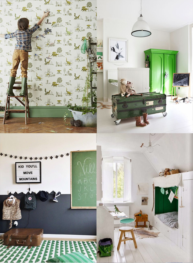 green childrens room interior design