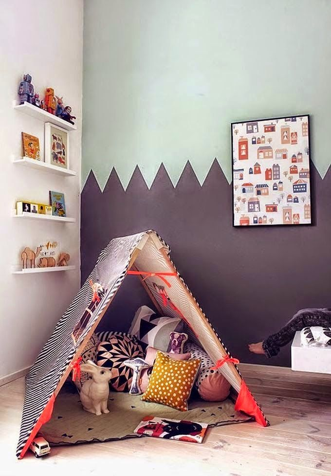 kids room with reading nook and half tone wall