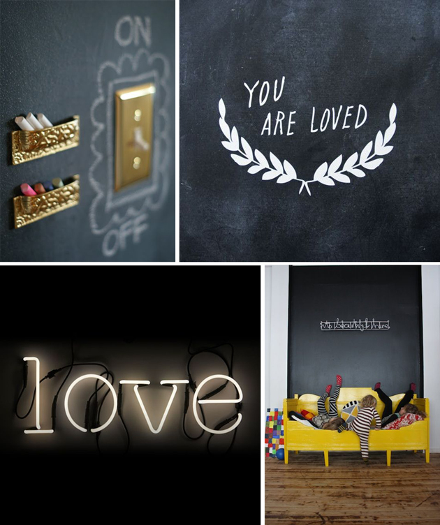 Interior design for children: chalkboard ideas for kids rooms.