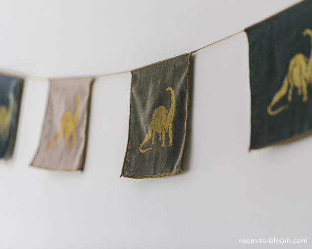 dinosaur bunting grey and yellow kids bedroom