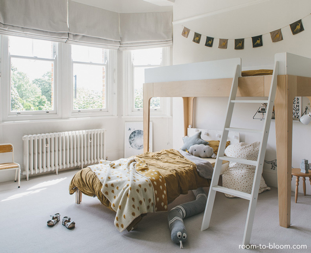a grey and yellow bedroom for tobias | Room to Bloom