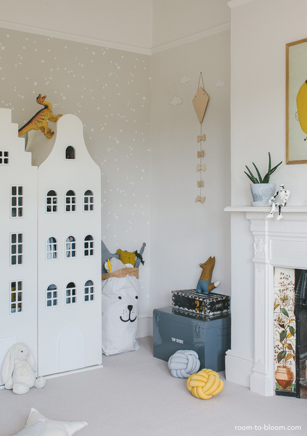 grey and ochre yellow kids room